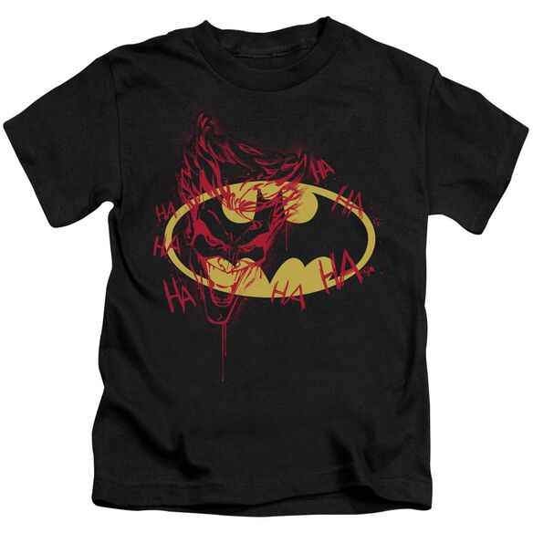 Batman Joker Graffiti Short Sleeve Juvenile Black T-Shirt