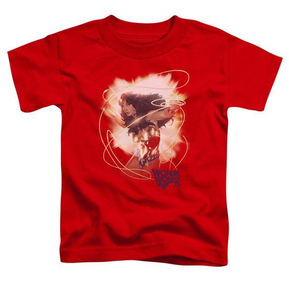 Wonder Woman 75 Th Burst Short Sleeve Toddler Tee Red T-Shirt