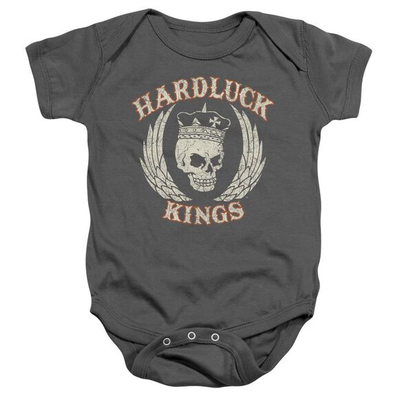 Hardluck Kings Red Cream Distressed Infant Snapsuit Charcoal