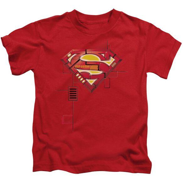 Superman Super Mech Shield Short Sleeve Juvenile Red T-Shirt