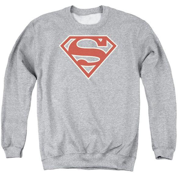 Superman Crimson &Amp; Cream Shield Adult Crewneck Sweatshirt Athletic