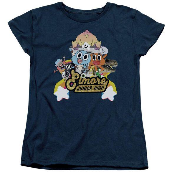 Amazing World Of Gumball Elmore Junior High Short Sleeve Womens Tee T-Shirt