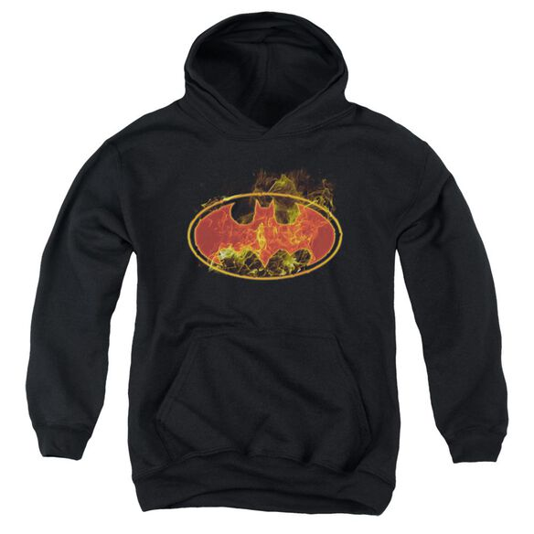 Batman Flames Logo Youth Pull Over Hoodie