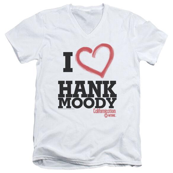 CALIFORNICATION I HEART HANK MOODY - S/S ADULT V-NECK - WHITE T-Shirt