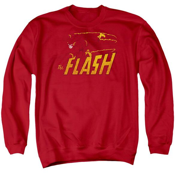Dc Flash Speed Distressed Adult Crewneck Sweatshirt