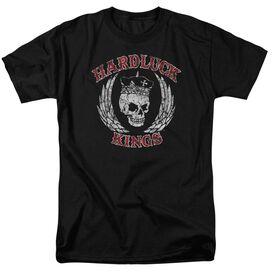Hardluck Kings Red Letter Distressed Short Sleeve Adult Black T-Shirt