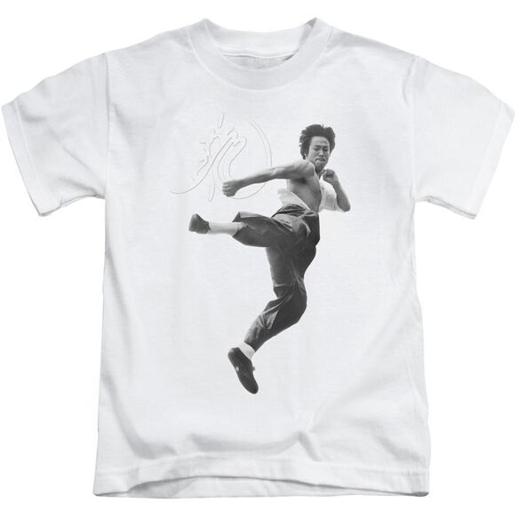 Bruce Lee Flying Kick Short Sleeve Juvenile White T-Shirt