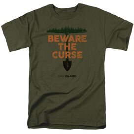 The Curse Of Oak Island Beware The Curse Short Sleeve Adult Military Green T-Shirt