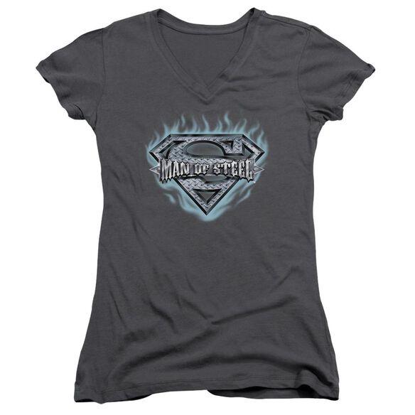 Superman Man Of Steel Shield Junior V Neck T-Shirt