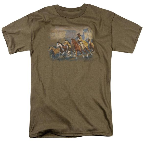 Wildlife A Cowboy Day Short Sleeve Adult Safari Green T-Shirt