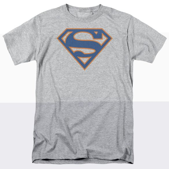 SUPERMAN BLUE & ORANGE SHIELD - S/S ADULT 18/1 - ATHLETIC HEATHER T-Shirt