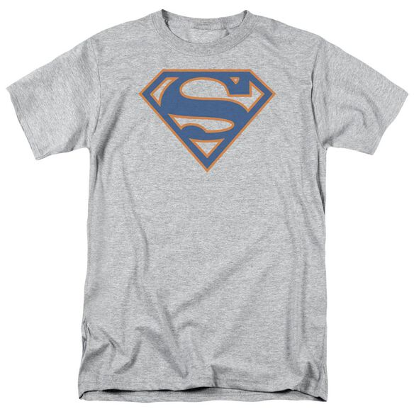 Superman Blue & Orange Shield Short Sleeve Adult Athletic Heather T-Shirt