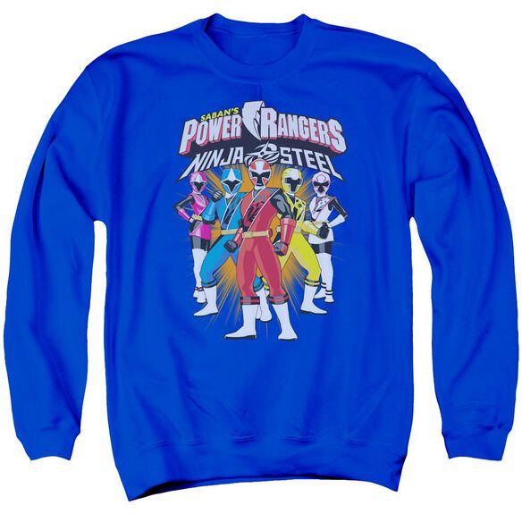 Power Rangers Team Lineup Adult Crewneck Sweatshirt Royal