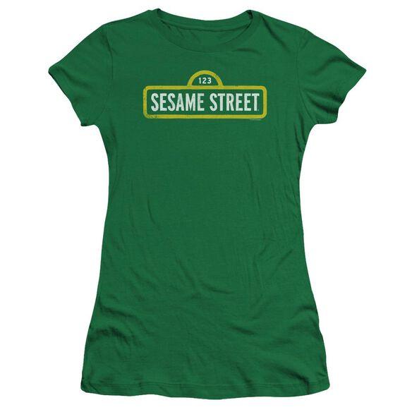 Sesame Street Rough Logo Premium Bella Junior Sheer Jersey Kelly