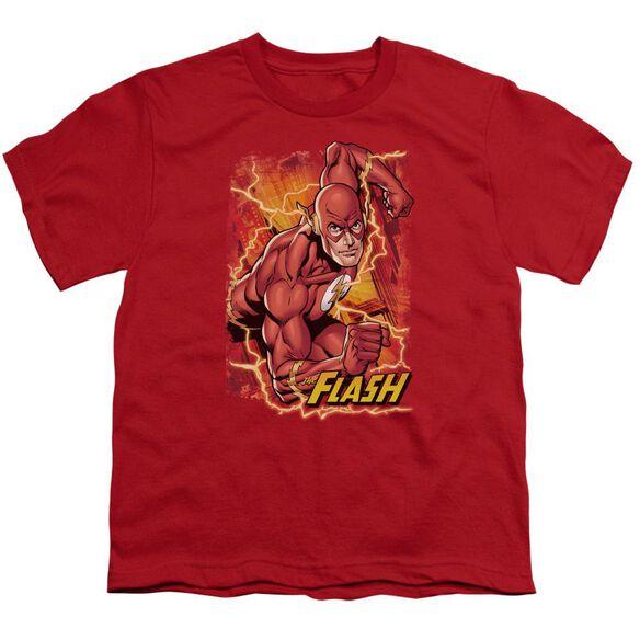 Jla Flash Lightning Short Sleeve Youth T-Shirt