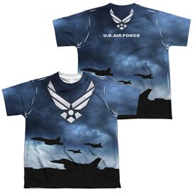 Air Force Take Off (Front Back Print) Short Sleeve Youth Poly Crew T-Shirt
