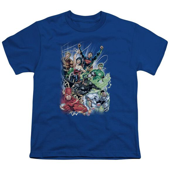 Jla Justice League #1 Short Sleeve Youth Royal T-Shirt
