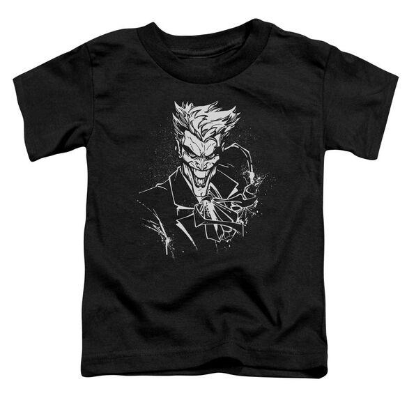 Batman Joker's Splatter Smile Short Sleeve Toddler Tee Black T-Shirt