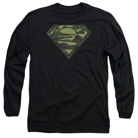 SUPERMAN CAMO LOGO - L/S ADULT 18/1 - BLACK T-Shirt