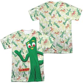 Gumby Friendly Greeting (Front Back Print) Short Sleeve Adult Poly Crew Sublimate T-Shirt