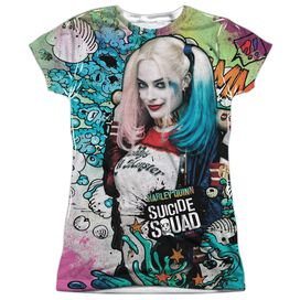 Suicide Squad Harley Psychedelic Cartoon Short Sleeve Junior Poly Crew T-Shirt