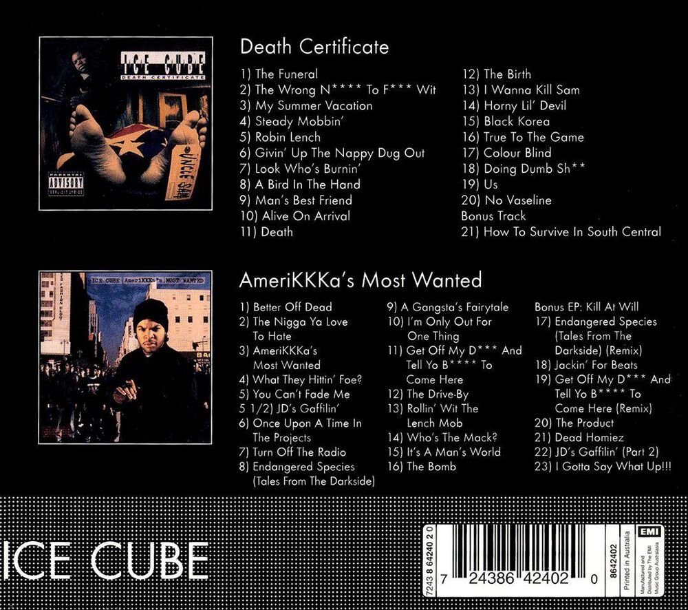 Death Certificateamerikkkas Most Wanted By Ice Cube Used On Cd Fye