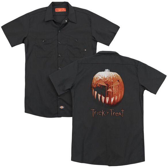 Trick R Treat Pumpkin (Back Print) Adult Work Shirt