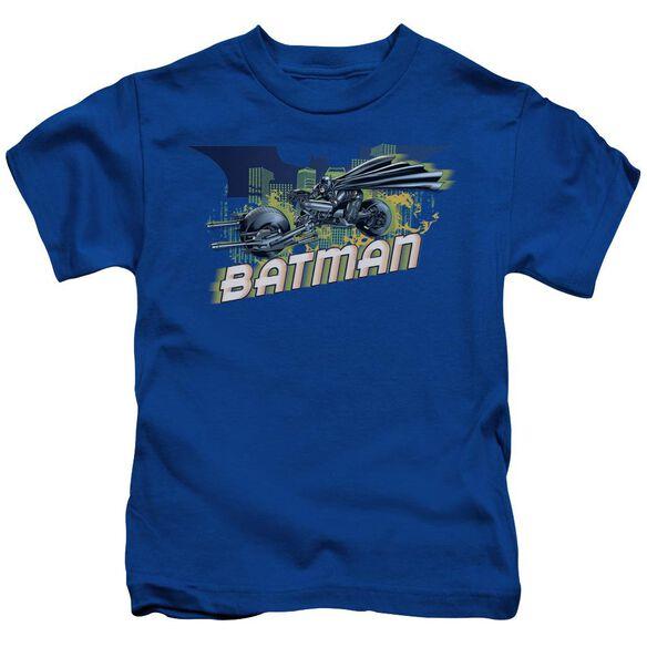 Dark Knight Rises Wheels On Fire Short Sleeve Juvenile Royal Blue T-Shirt
