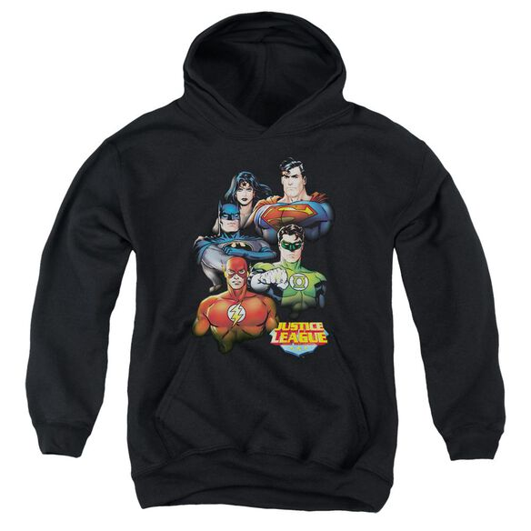 Jla Group Portrait Youth Pull Over Hoodie