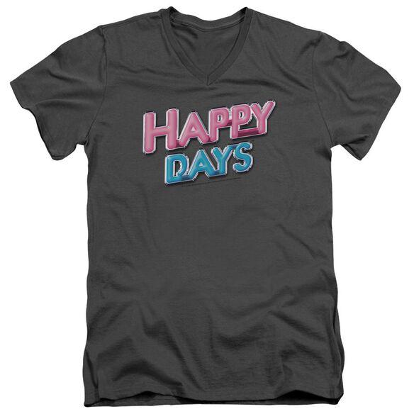 HAPPY DAYS HAPPY DAYS LOGO - S/S ADULT V-NECK - CHARCOAL T-Shirt