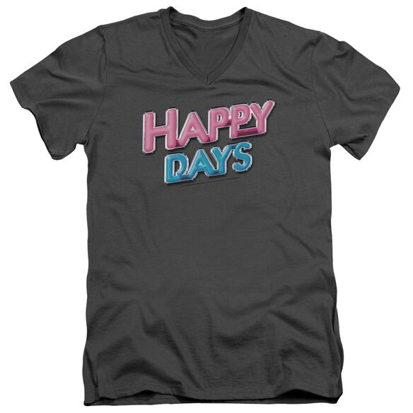 Happy Days Happy Days Logo Short Sleeve Adult V Neck T-Shirt