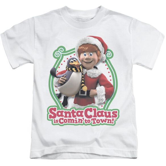 Santa Claus Is Comin To Town Penguin Short Sleeve Juvenile White T-Shirt