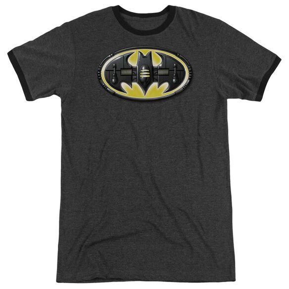 Batman Bat Mech Logo Adult Heather Ringer Charcoal