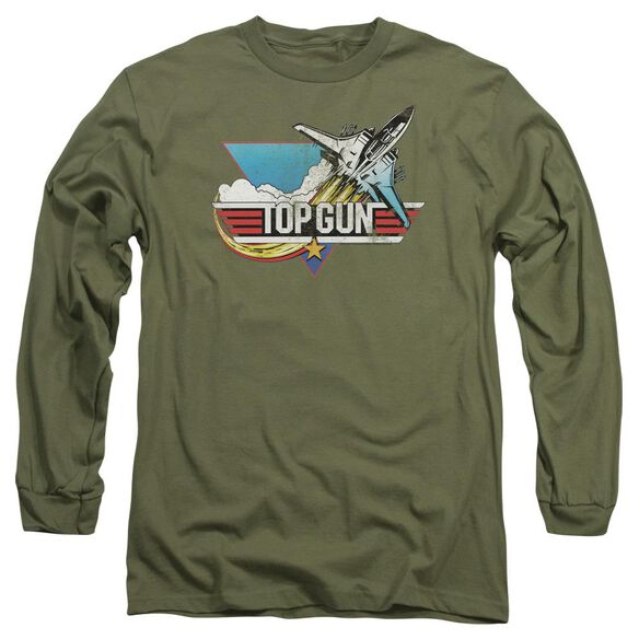 Top Gun Distressed Logo Long Sleeve Adult Military T-Shirt