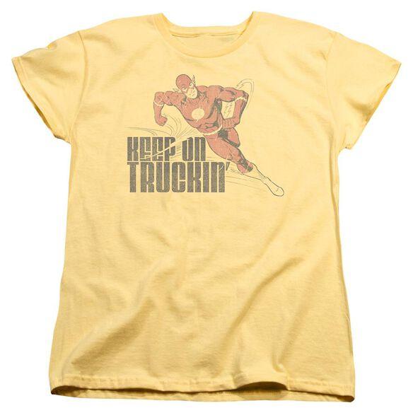 Dc Flash Keep On Truckin Short Sleeve Womens Tee T-Shirt