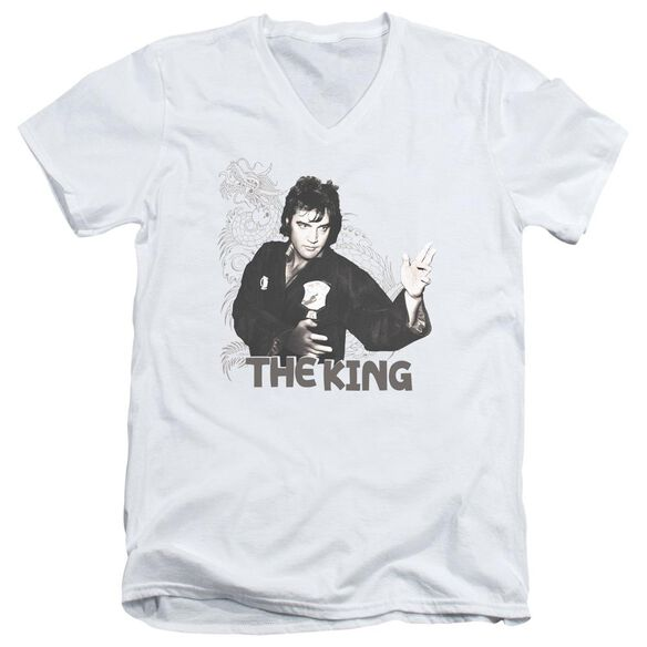 Elvis Fighting King Short Sleeve Adult V Neck T-Shirt
