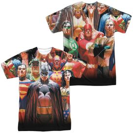 Jla Wall Of Heroes (Front Back Print) Short Sleeve Adult Poly Crew T-Shirt