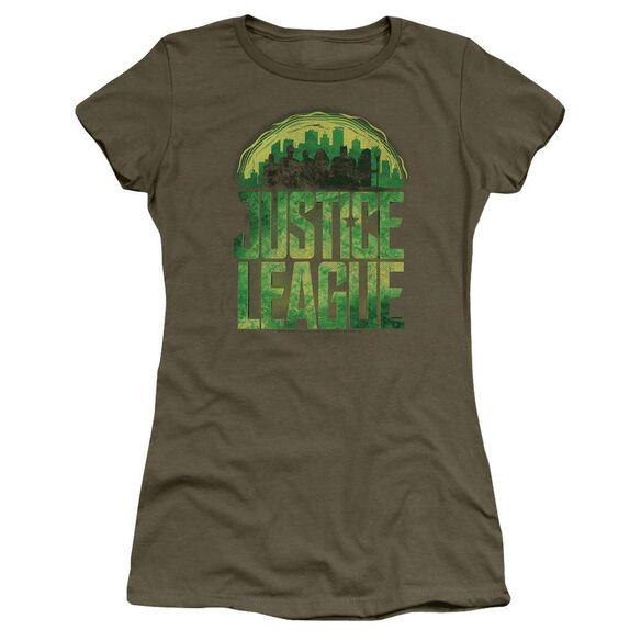 Justice League Movie Kryptonite Short Sleeve Junior Sheer Military T-Shirt