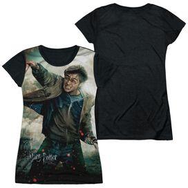Harry Potter Harry Vs Voldemort Short Sleeve Junior Poly Black Back T-Shirt