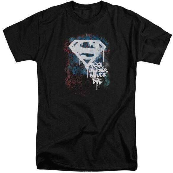 Superman Real Heroes Never Die Short Sleeve Adult Tall T-Shirt
