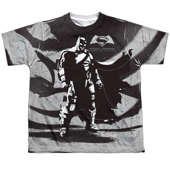 Batman V Superman Batman Contrast Short Sleeve Youth Poly Crew T-Shirt