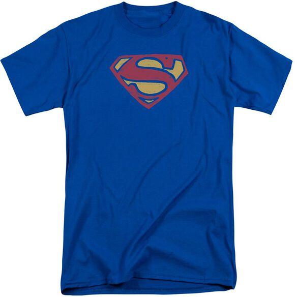 Superman Super Rough Short Sleeve Adult Tall Royal T-Shirt