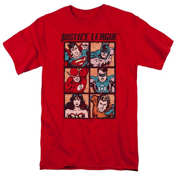 Jla Rough Panels Short Sleeve Adult T-Shirt