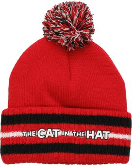 Dr Seuss Cat Hat Striped Cuff Pom Beanie