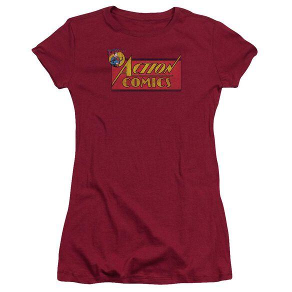 Superman Action Comics Logo Short Sleeve Junior Sheer T-Shirt