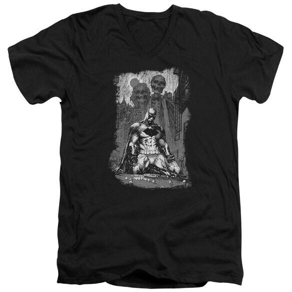 Batman Sketchy Shadows Short Sleeve Adult V Neck T-Shirt