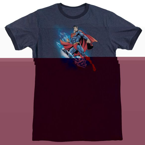 Superman Crystallize - Adult Heather Ringer - Navy