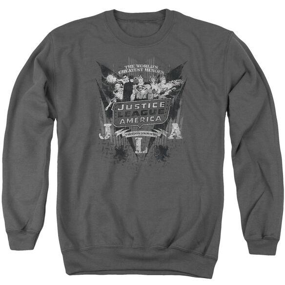 Dc Greatest Heroes Adult Crewneck Sweatshirt