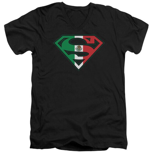 Superman Mexican Flag Shield Short Sleeve Adult V Neck T-Shirt
