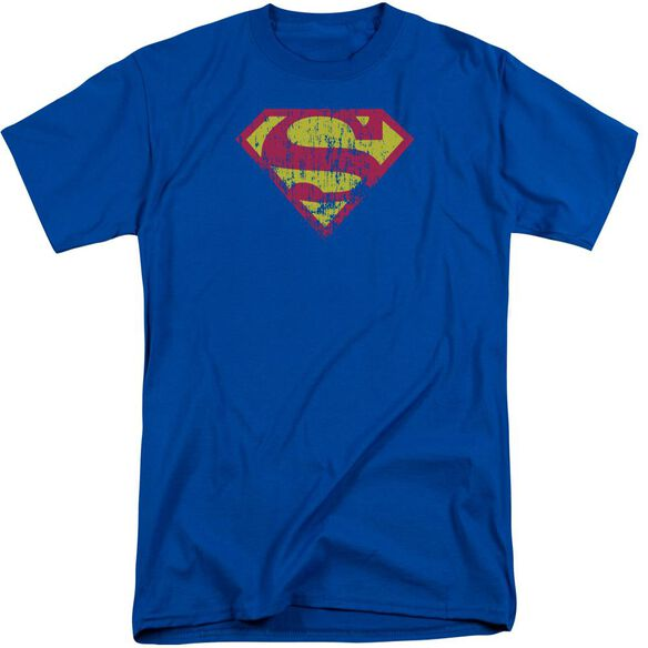 Superman Classic Logo Distressed Short Sleeve Adult Tall Royal T-Shirt